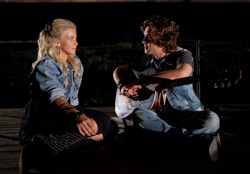 Julianne Hough and Diego Boneta play rock-star wannabees Sherrie Christian and Drew Boley.