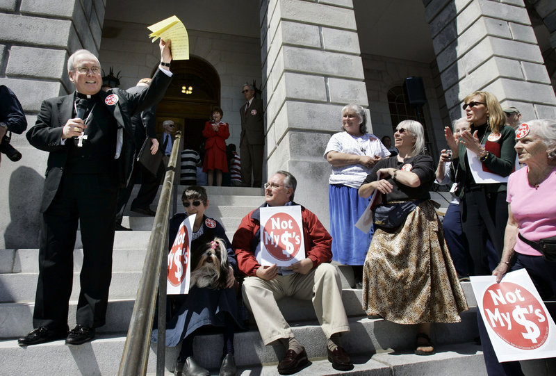 Bishop Richard Malone speaks at an anti-abortion rally on the steps of the State House in Augusta in 2007.