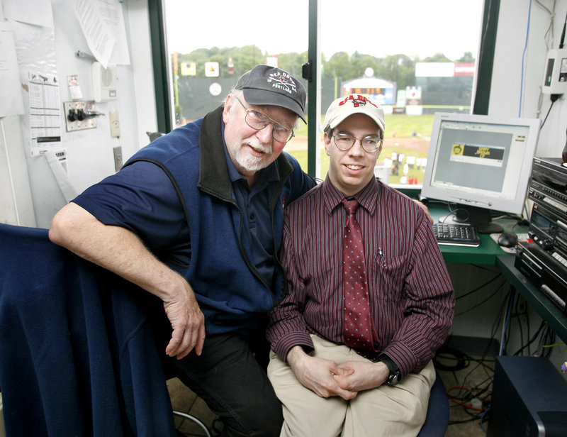 Dean Rogers, left, has been the Sea Dogs' public address announcer since the team's birth in 1994, and his son, Mark, operates the message board at Hadlock Field.