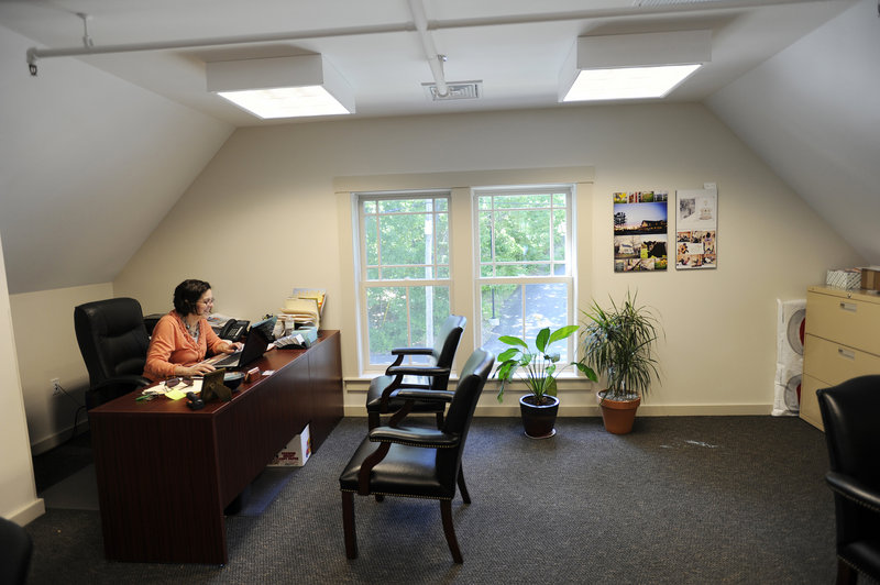 This newly renovated office space at the Mallett House is being used by the Freeport Chamber of Commerce. Marvin triple-glazed windows help maintain the historic look.