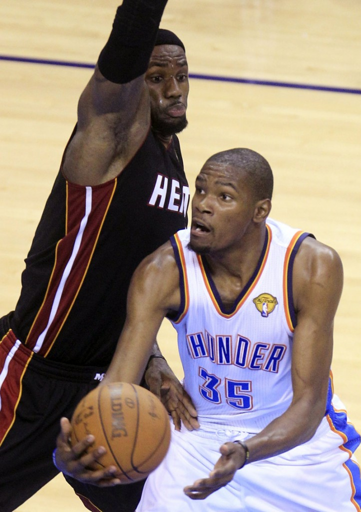 Kevin Durant of Oklahoma City and LeBron James of Miami will be competing again Sunday night in Game 3 of the NBA finals.