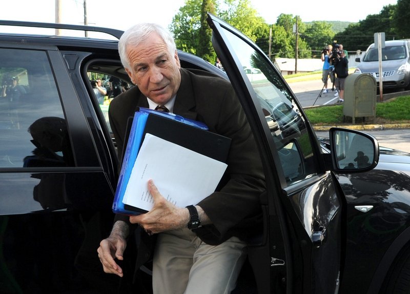 Former Penn State assistant football coach Jerry Sandusky arrives for the fourth day of his criminal trial in Bellefonte, Pa., on Thursday.