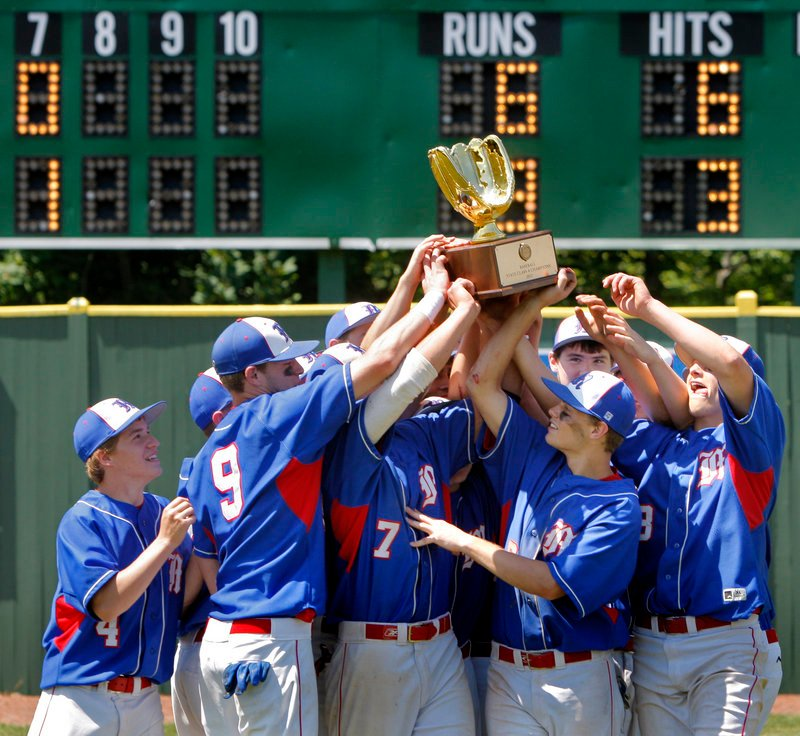 The team that was 5-5 after 10 games never lost another. It's the Messalonskee baseball team, and there was certainly reason to celebrate Saturday's 6-3 win and a Class A title.