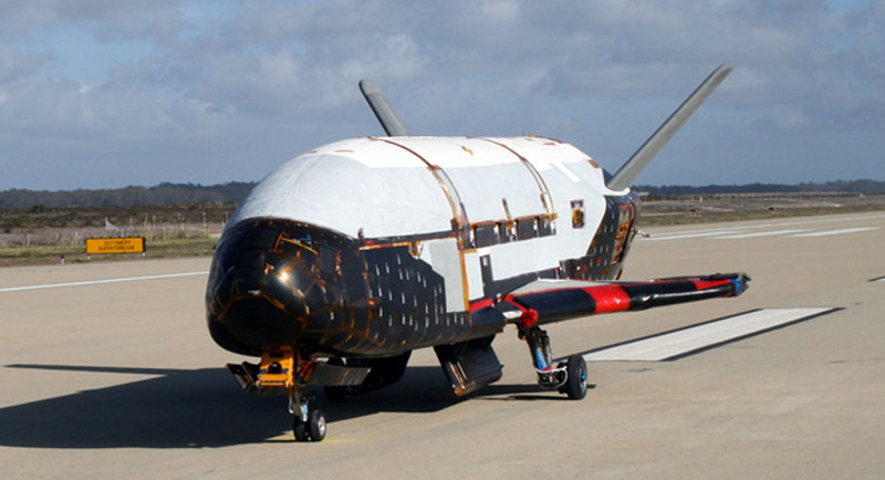 This image, provided by the Air Force, shows the X-37B spacecraft. The unmanned Air Force space plane steered itself to a landing early Saturday at a California military base, capping a 15-month clandestine mission.