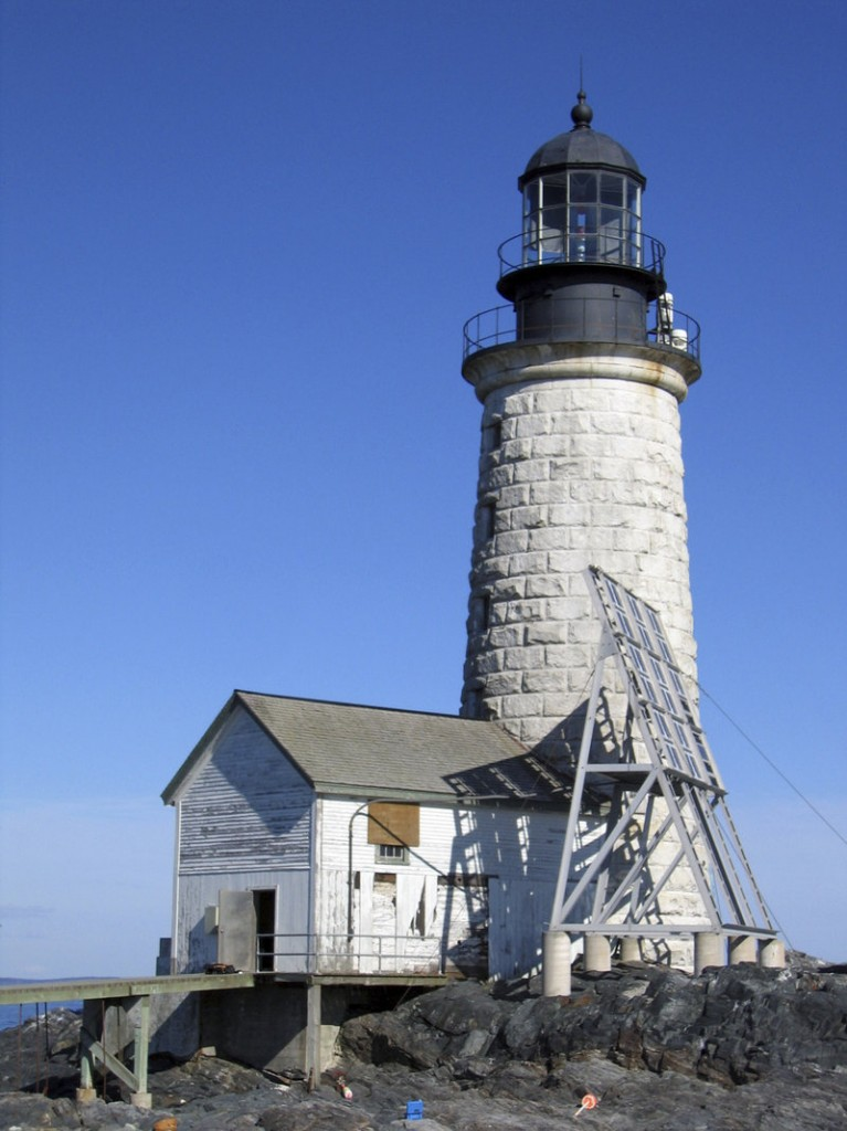 Halfway Rock Light Station is located about 10 miles east of Portland Head Light on a 2-acre rock ledge. The lighthouse, which began operating in 1871, is a 76-foot-tall granite tapered tower. Special feature: a boathouse.