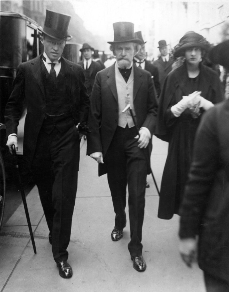 William A. Clark, left, 83, a copper magnate and former senator, marches in New York's Easter Parade on April 29, 1922, with his daughter Huguette, right, then 15.