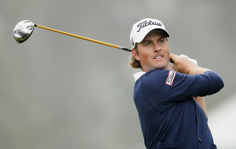 Webb Simpson made four birdies in a five-hole stretch to climb into contention, and eventually took the lead when Jim Furyk and Graeme McDowell stumbled.