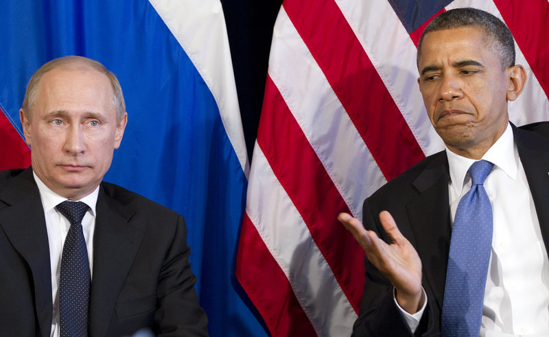 President Obama and Russian President Vladimir Putin emphasized common ground in dealing with Syria on Monday during a news conference in Los Cabos, Mexico.
