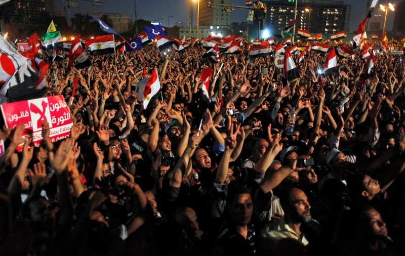 Backers of Egypt's Muslim Brotherhood gather to demonstrate against the ruling military council Tuesday in Cairo. Hosni Mubarak's ex-premier said Tuesday that he won the presidential race, challenging the Brotherhood candidate's claim.