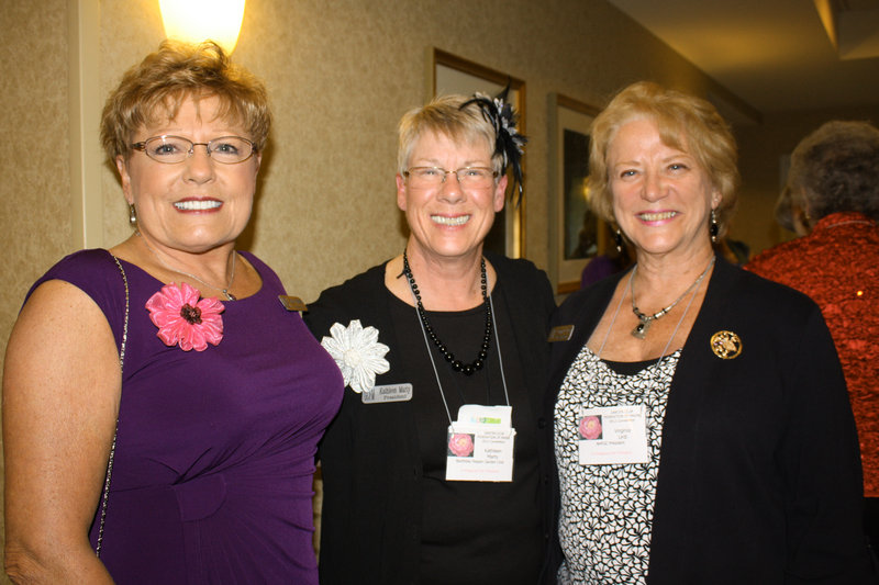 Joyce Kimball, regional director of the New England garden clubs, Kathleen Marty, president of the Garden Club Federation of Maine, and Ginny Urdi, president of the New Hampshire Federation of Garden Clubs.