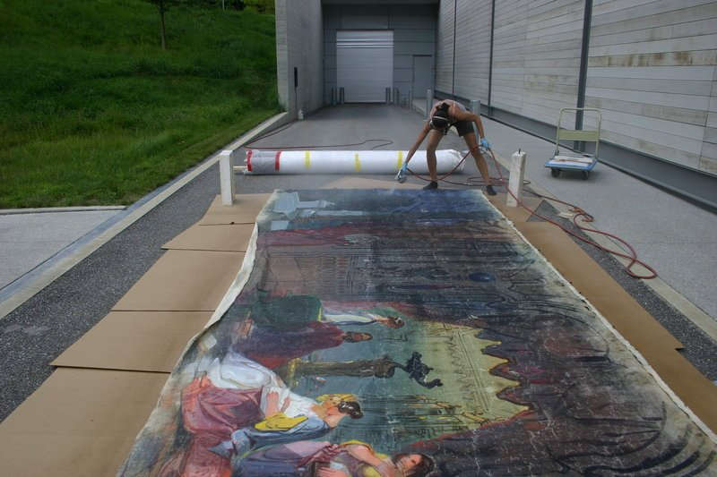 The scroll was sprayed with a consolidant at the Williamstown Art Conservation Center in Massachusetts, where much of the restoration work was done.