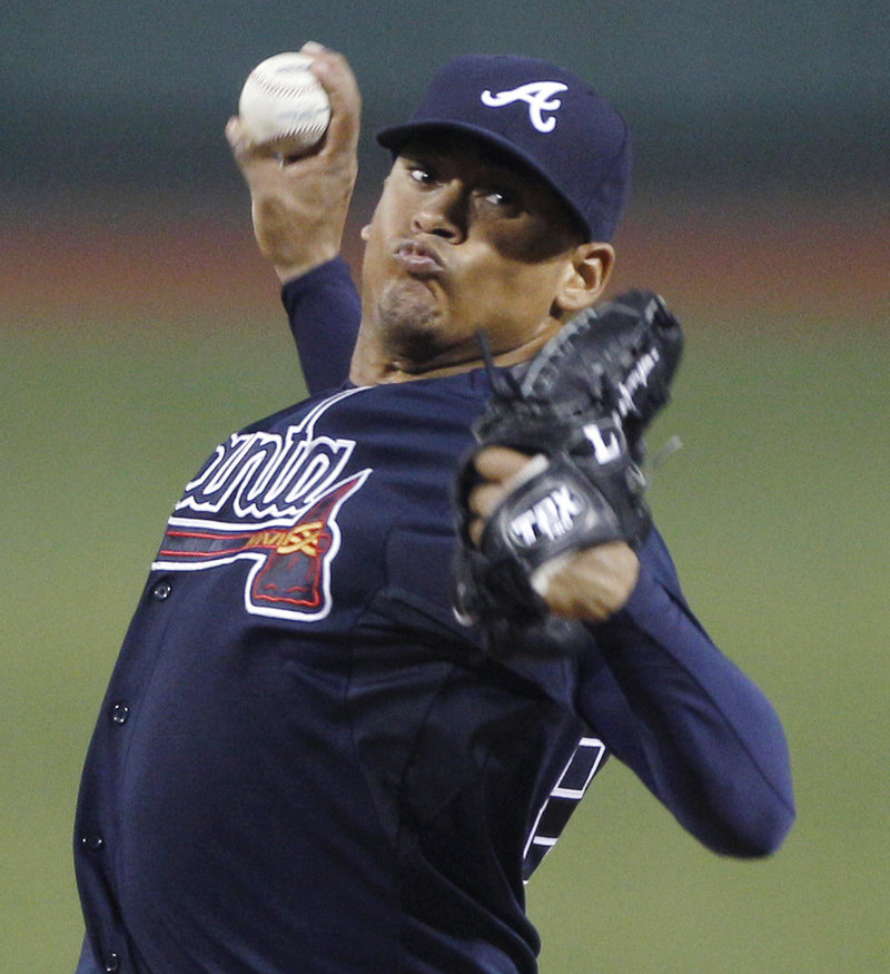 Jair Jurrjens, who was demoted to the minors in April by the Braves, allowed one run and three hits over 7 2⁄3 innings Friday night in a 4-1 victory against the Boston Red Sox at Fenway Park.