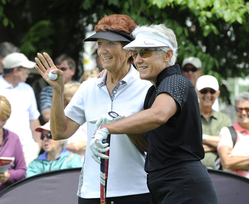 Donna Caponi, left, and Patty Sheehan enjoy a light moment before the start of play Saturday. Caponi finished with an 82 while Sheehan had a 76.