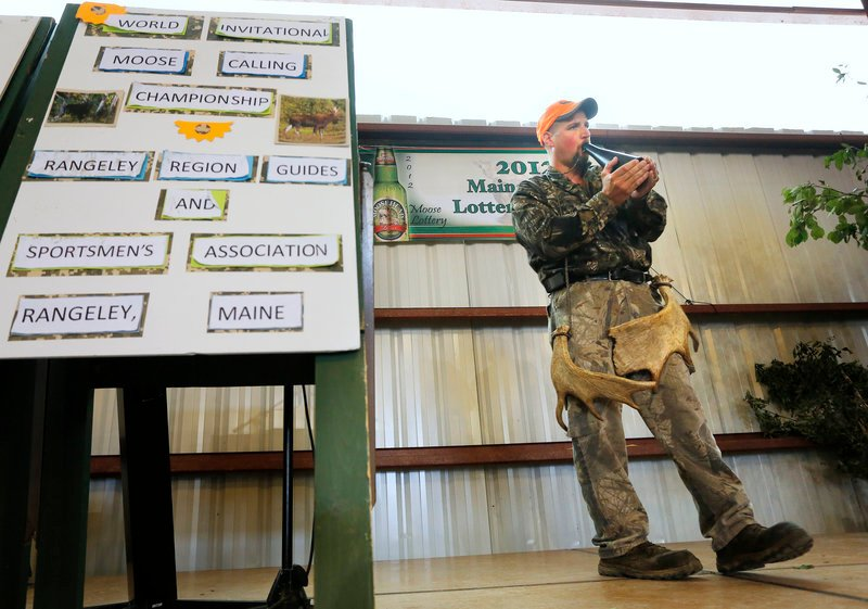 Kevin Deschaine of Madawaska is the '12 moose-calling champ. He has been named champion in three such competitions, which are still relatively new to Maine.