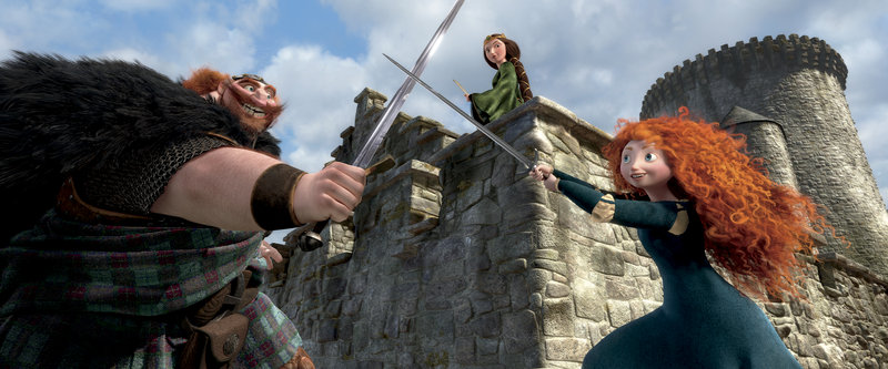 "This film image shows characters, from left, King Fergus, voiced by Billy Connolly; Queen Elinor, voiced by Emma Thompson; and Merida, voiced by Kelly Macdonald, in a scene from ""Brave."""