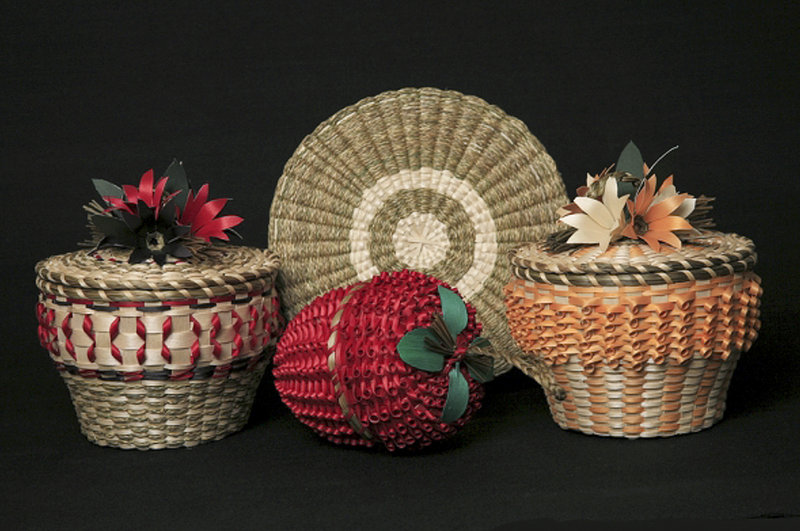 Molly Neptune Parker of Princeton, in far eastern Maine, made this assortment of handcrafted baskets. Most of her baskets are made from ash and sweetgrass.