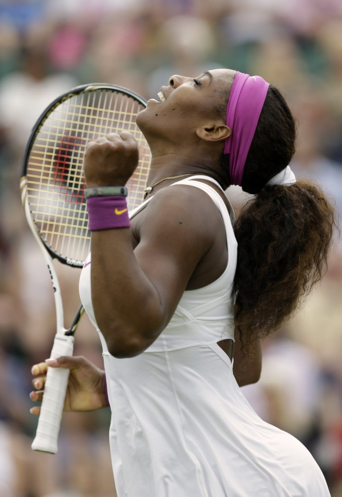 Serena Williams reacts Tuesday during an uneven first-round victory over Barbora Zahlavova Strycova of the Czech Republic.