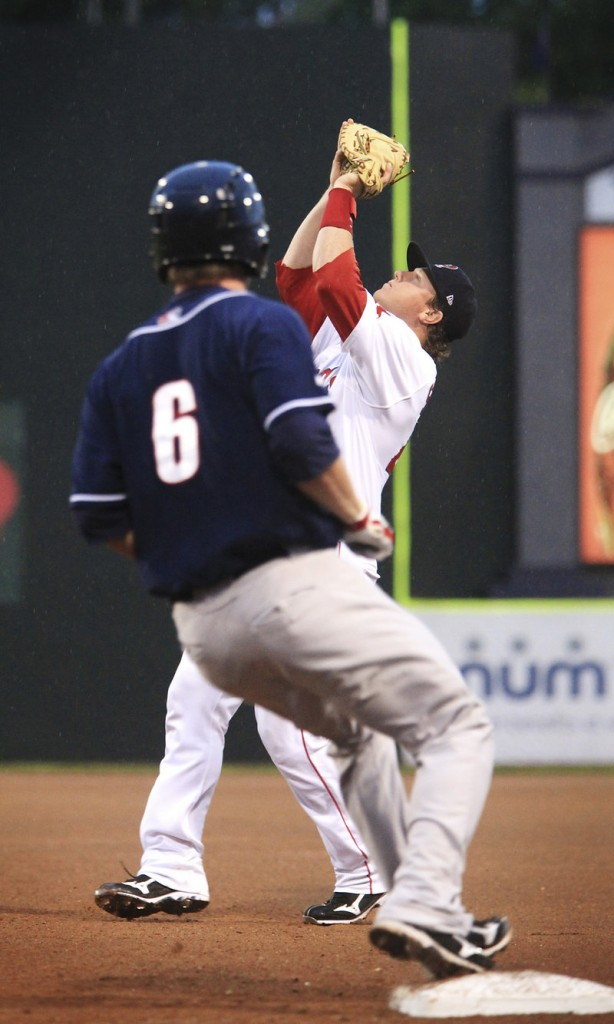 Matt Spring, a backup catcher pressed into playing first base Tuesday night for the Sea Dogs because of Reynaldo Rodriguez's injury, hauls in a pop fly by Brad McElroy of New Hampshire.