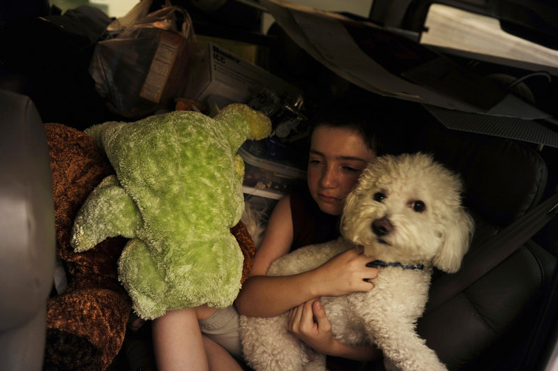 Tayor Salamon, 11, holds his dog in the back seat of the family car as his family flees its Colorado Springs home Tuesday.