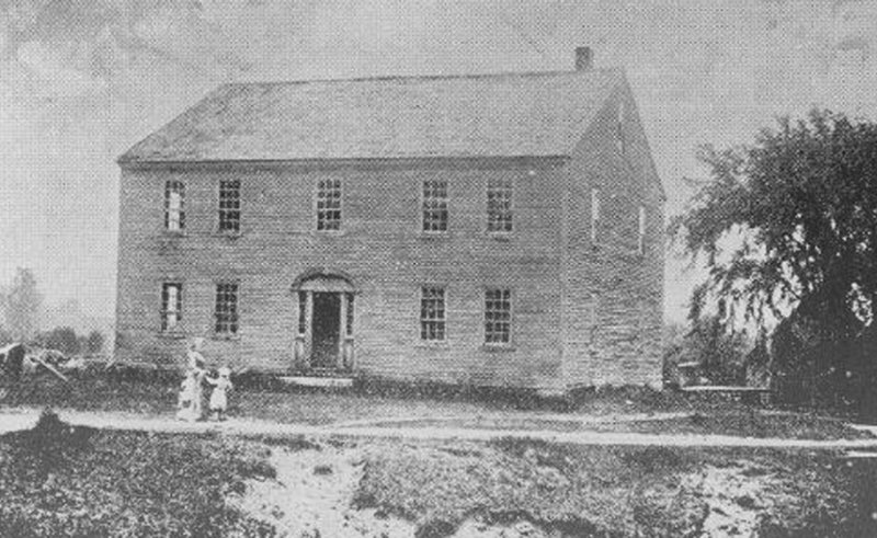 Hawthorne's boyhood home on Raymond Neck is shown circa 1860-1870. It became a tavern and then a meetinghouse after the family moved out in 1825. Restoration of the interior is unlikely as both funds and information are lacking.