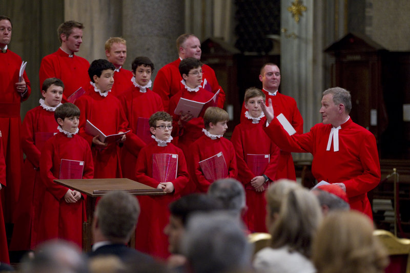 The Choir of the Westminster Abbey, directed by James O'Donnel, right, performs Wednesday during a concert in the St. Mary Major basilica, in Rome. The highlight occurred Friday when the boy joined the Sistine Chapel Choir.