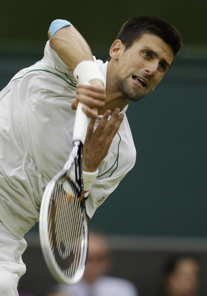 Novak Djokovic of Serbia serves to Radek Stepanek of the Czech Republic in a third-round match at Wimbledon on Friday.