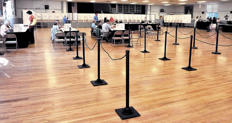 There were more election officials than voters at the American Legion Hall during the state primary election on Tuesday in Waterville.