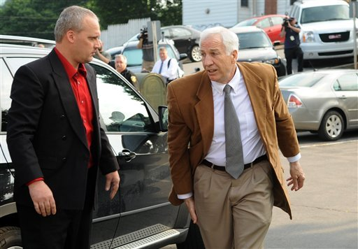 Former Penn State University assistant football coach Jerry Sandusky arrives at the Centre County Courthouse in Bellefonte, Pa., today, as jury deliberations continue for a second day.