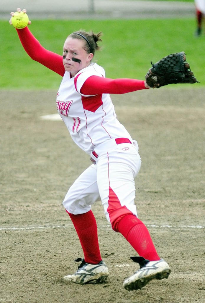 This May 2012 file photo shows Sonja Morse pitching in a game against Oxford Hills. Morse led Cony on Saturday to its first Class A state championship since 1983.