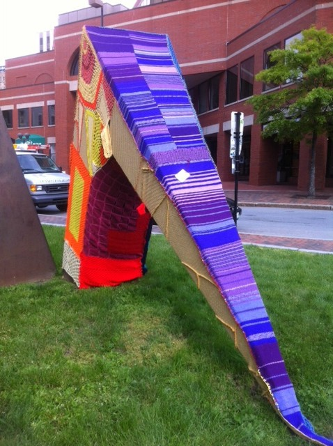 A sculpture outside One City Center in Portland was yarn bombed overnight.