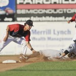 Derrik Gibson, the shortstop for the Portland Sea Dogs, slaps a tag on Trenton's Jose Gil, who was attempting to steal second base Saturday night. Gil was called safe on the play.