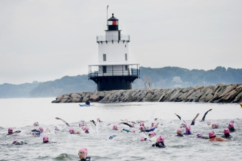 A swim near Spring Point Ledge Lighthouse in South Portland is the first portion of Tri for a Cure.