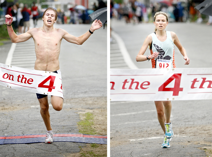 Men's winner Silas Eastman, a student at Fryeburg Academy, crosses the finish line during the 4 on the Fourth road race in Bridgton today. At right is the women's winner Women's winner Emily Ward of Richmond, Va.