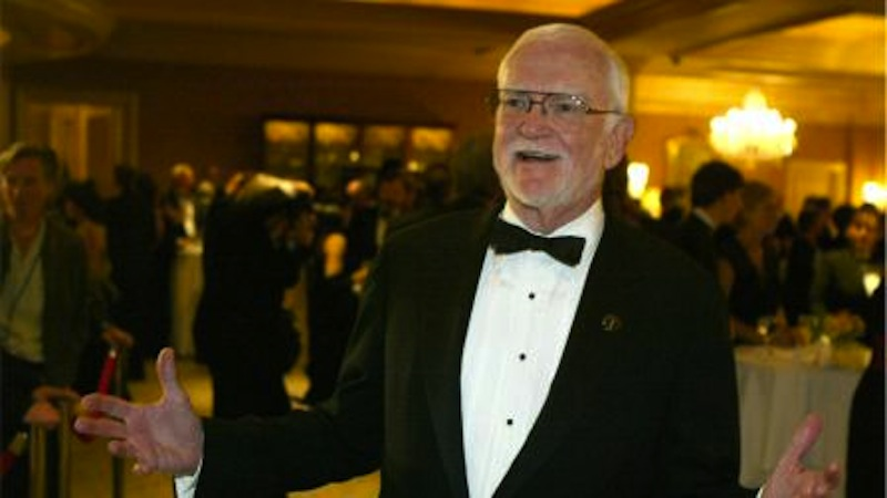 Academy President Frank Pierson arrives at the Academy of Motion Picture Arts and Sciences, Scientific and Technical Achievements Awards dinner in Pasadena Calif., Saturday, Feb. 14, 2004. Pierson died Monday, July 23, 2012, after a short illness. He was 87. (AP Photo / Chris Carlson)