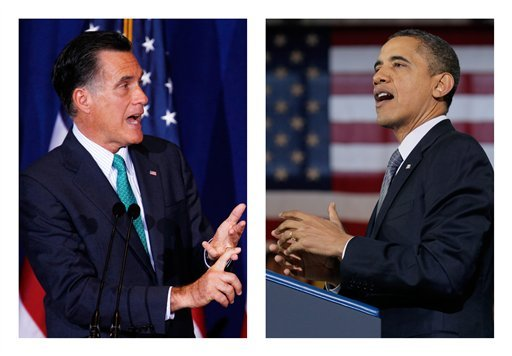 This combination of 2012 and 2011 file photos shows Republican presidential candidate Mitt Romney and President Obama. More than one-fifth of the president's ad spending has been in Ohio. Florida ranks second and Virginia third, according to organizations that track media spending and other sources.