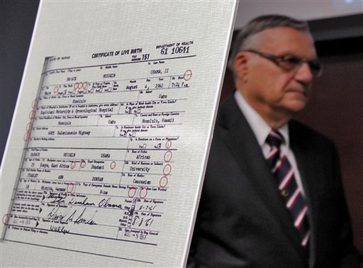 Maricopa County Sheriff Joe Arpaio exits after announcing Tuesday in Phoenix that President Obama's birth certificate, as presented by the White House in April 2011, is a forgery based on an investigation by the Sheriff's office.