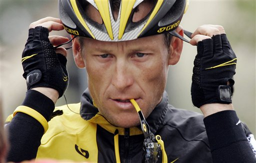 Lance Armstrong prepares for the final stage of the Tour of California cycling race in Rancho Bernardo, Calif., in 2009. He has maintained his innocence to doping charges, saying: