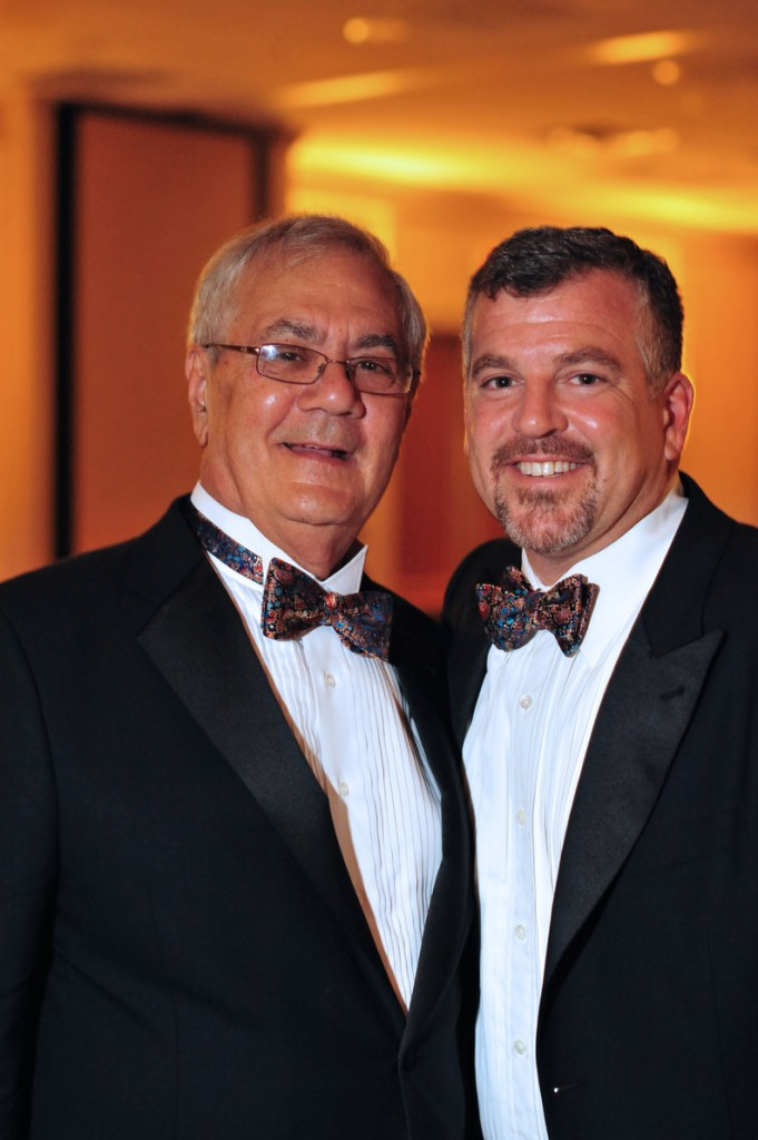 U.S. Rep. Barney Frank, D-Mass., left, and Jim Ready posing at their wedding reception Saturday in Newton, Mass.