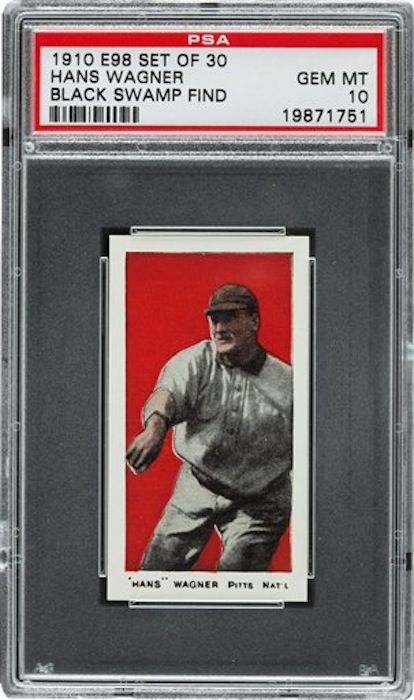 This undated photo provided by Heritage Auctions of Dallas, Texas shows a 1910 Honus Wagner baseball cards found in the attic of a house in Defiance, Ohio. The best of the bunch – 37 cards – are expected to bring a total of $500,000 when they are sold at auction in August during the National Sports Collectors Convention in Baltimore. (AP Photo/ Heritage Auctions)