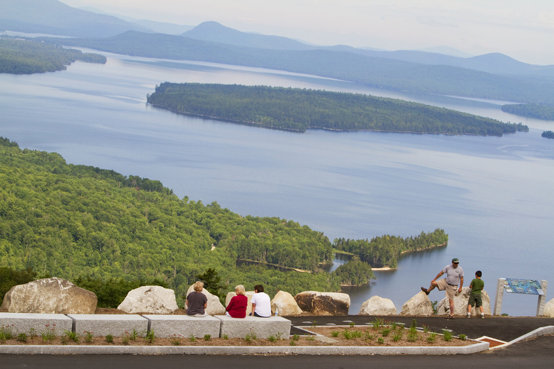 Height of Land outside Rangeley offers a marvelous view of Mooselookmeguntic Lake and Toothaker and Students islands, along with mountains in the distance.