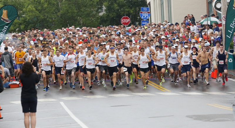 And off they go, a record field of more than 1,600 runners answering the call to start the 35th annual L.L. Bean 10K road race Wednesday. Erica Jesseman, recovering from Achilles tendinitis, won the women's division and Jonny Wilson, with a fast start, was the men's champion.