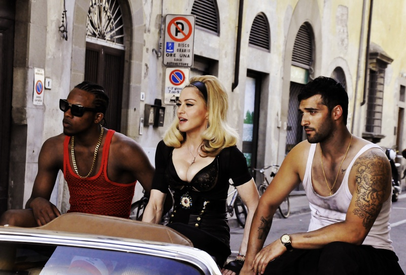 Pop star Madonna films a music video for her new single,