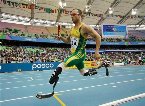 South Africa's Oscar Pistorius competes in a qualification round for the Men's 4x400m relay at the World Athletics Championships in Daegu, South Korea. In this Sept. 1, 2011, photo,