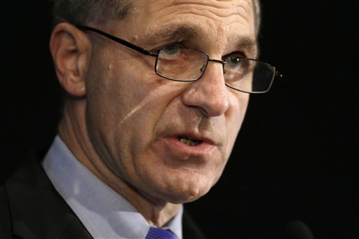 Former FBI Director Louis Freeh speaks about the Freeh Report during a news conference today in Philadelphia. Freeh says the most