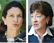 Republican Maine U.S. Sens. OlympiaSnowe, left, and Susan Collins.
