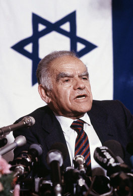 In this April 29, 1987, file photo, Israeli Premier Yitzhak Shamir speaks at a press conference he gave in Paris at the end of a three-day official visit to France.