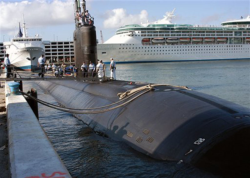 The USS Miami, seen here in a 2004 file photo, incurred an estimated $400 million in damage in a fire on May 23 at the Portsmouth Naval Shipyard in Kittery. A second fire broke out near the nuclear sub on June 16, 2012.