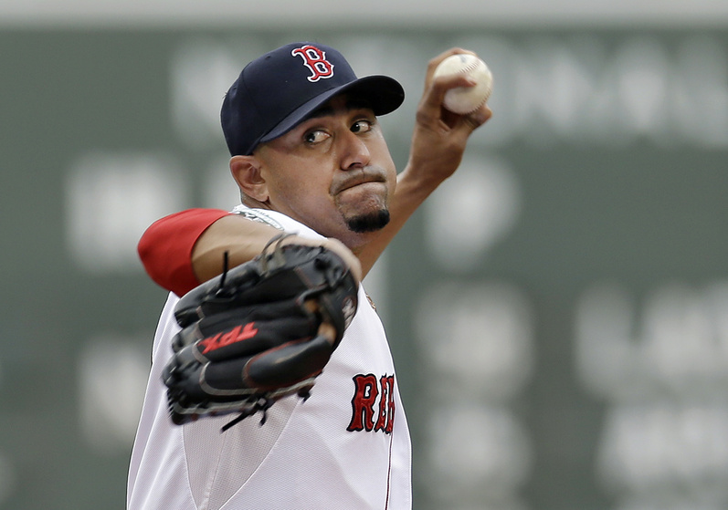 Boston Red Sox starting pitcher Franklin Morales delivers to the New York Yankees Saturday afternoon at Fenway Park in Boston. The Red Sox lost, 6-1. Franklin Morales
