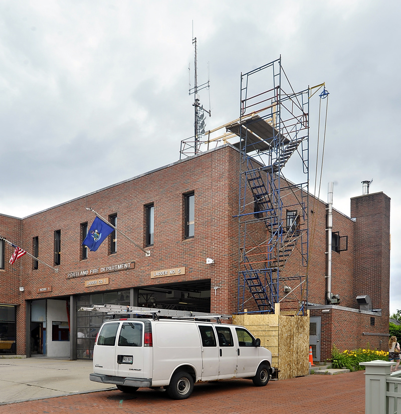 Construction has started at the Munjoy Hill Fire Station in Portland to replace the communications tower.