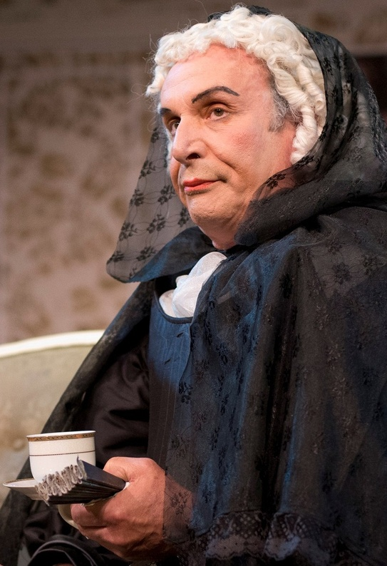 """Bill Van Horn also acts. He's seen here in his scene-stealing portrayal of Pernelle in """"Tartuffe."""""""
